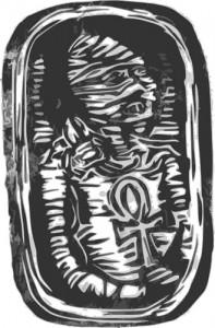 ankh, scarab and mummy